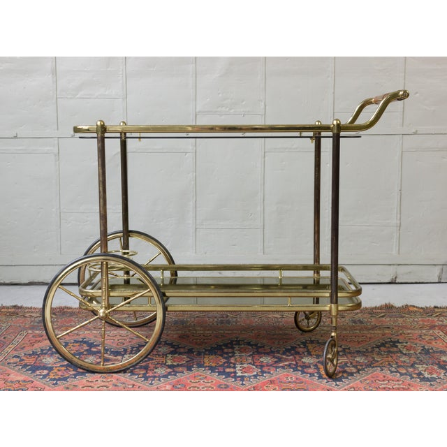 Brass Bar Cart With Glass Shelves - Image 6 of 11