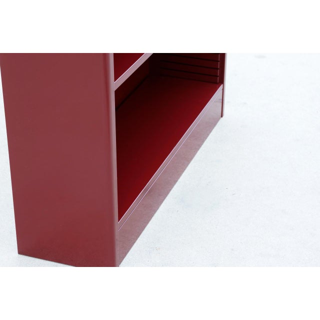 Cole Steel 1960s Tanker Style Steel Bookcase Refinished in Red Wine For Sale - Image 4 of 5
