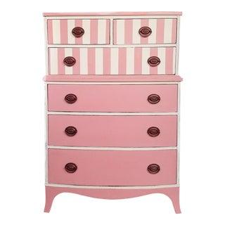 Pink & White Striped Vintage Dresser