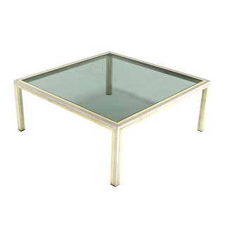 Square Brass, Chrome and Glass Coffee Table by Romeo Rega For Sale