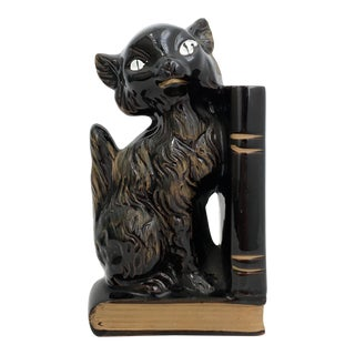 Porcelain Black Cat Bookend