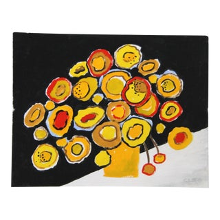 Yellow Fauvist Flowers by Cleo Plowden For Sale