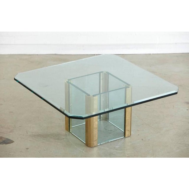 Brass Coffee Table with an Octagonal Beveled Glass Top by Leon Rosen for Pace - Image 2 of 9