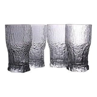 Vintage Ice Pattern Aslak Highball Crystal Glasses by Tapio Wirkkala of Iittala - Set of 4 For Sale