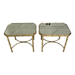 Mastercraft Faux Bamboo Side Tables - a Pair For Sale
