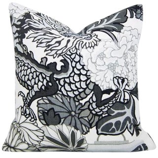 Chiang Mai Dragon Pillow Cover in Smoke For Sale