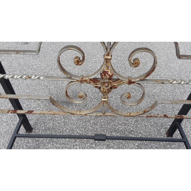 Antique European Hand Wrought Iron Transom Console For Sale - Image 4 of 7