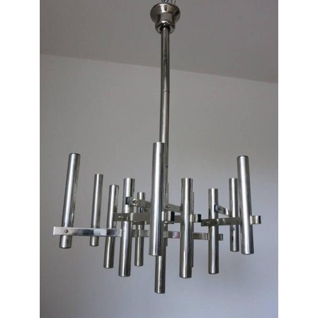 Original vintage tubular chrome pendant / Designed by Sciolari circa 1960's / Made in Italy 12 lights / E12 or E14 type /...