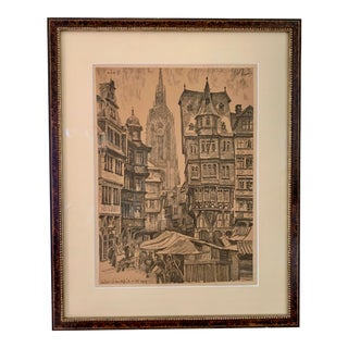 1919 German Drawing Signed by Unidentified Artist For Sale