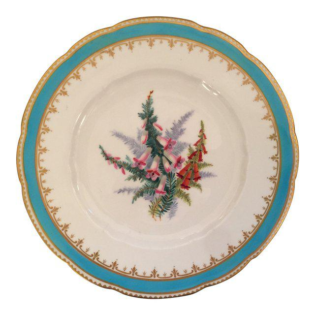 Turquoise 1930s English Traditional China Plate For Sale - Image 8 of 8