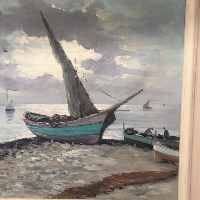 Vintage Nautical Oil Seascape - Image 7 of 11