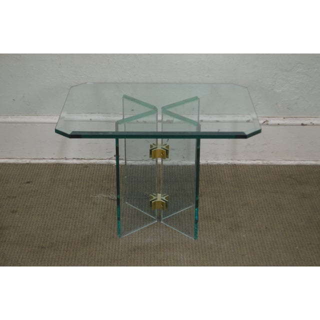 Leon Rosen for Pace Modern Glass Brass Side Table For Sale In Philadelphia - Image 6 of 13