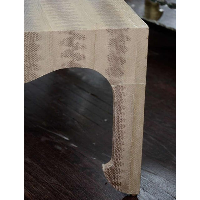 Tan Custom Python Cocktail Table For Sale - Image 8 of 9