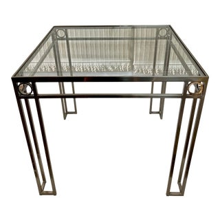 Brushed Steel & Brass Square Game Table For Sale