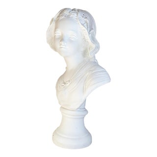 French Classic Young Peasant Girl in Bonnet Plaster Bust For Sale
