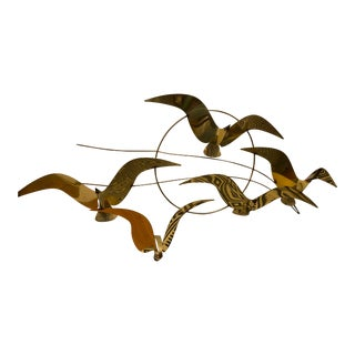 1960s Curtis Jere Signed Brass Wall Bird Sculpture For Sale