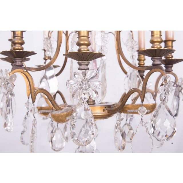 French Gilt Bronze and Crystal Chandelier For Sale - Image 4 of 6
