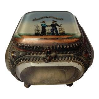 Antique French Crystal and Metal Jewelry Box For Sale