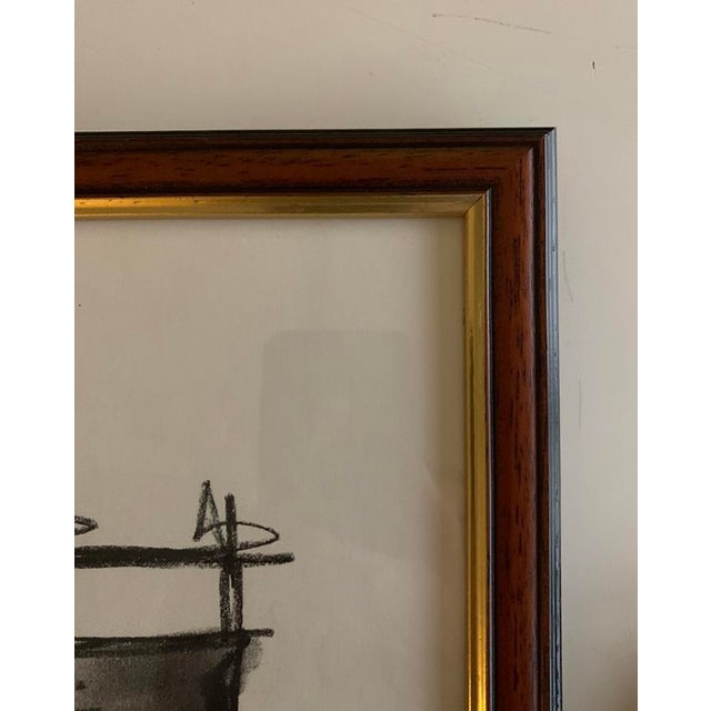 Original abstract black and white drawing Charcoal on paper, framed in a vintage dark wood frame with gold trim 13 in wide...