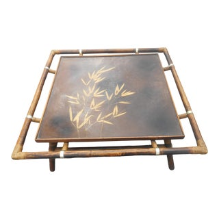 Vintage Bamboo / Rattan Hand Painted Coffee Table For Sale