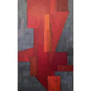 Face of Fire - Large Scale Geometric Abstract Painting by Stephen Cimini For Sale