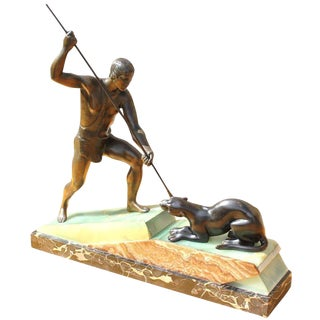 French Art Deco Patinated Metal Sculpture of Hunter by Lemoine