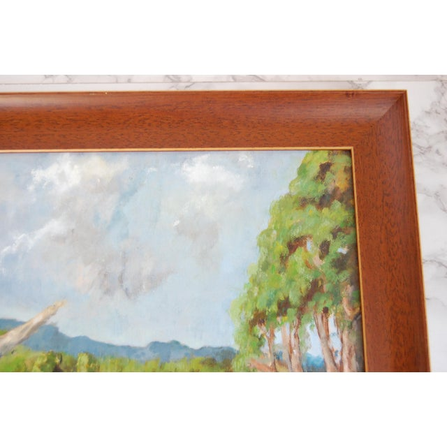 Canvas Vintage Lakeside Original Oil on Canvas Painting For Sale - Image 7 of 10