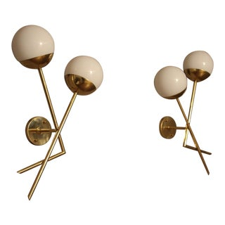 Pair of Italian Sconces in White Murano Glass and Brass For Sale