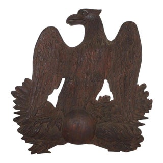 19th Century Hand Carved Wooden Eagle, New England For Sale