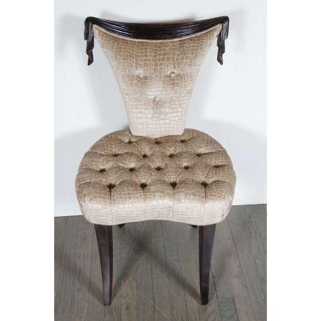Grosfeld House 1940s Hollywood Regency Draped Chair by Grosfeld House in Ebonized Walnut For Sale - Image 4 of 8