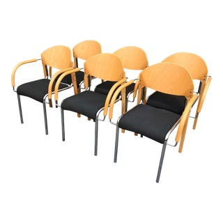 Late 20th Century Post Modern Italian Chrome and Blonde Wood Chairs - Set of 6 For Sale