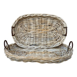 Large White Washed Tray Baskets With Iron Handles - a Pair For Sale