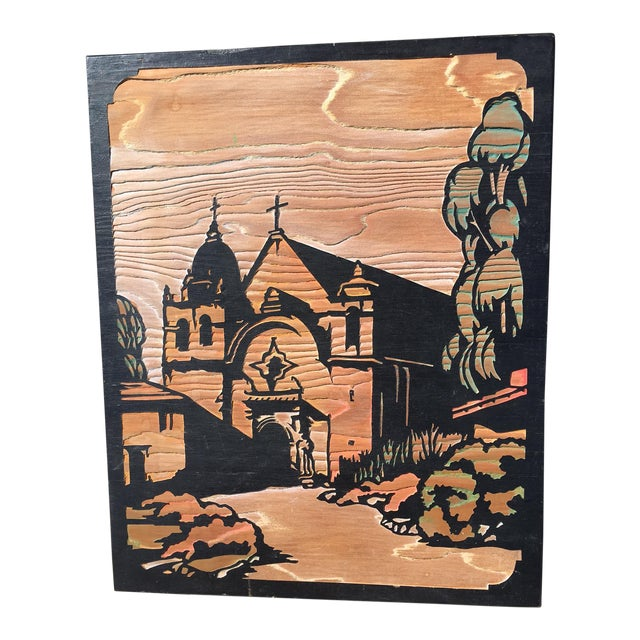 Mission Scene Woodcut Relief Plaque - Image 1 of 6