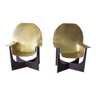 Sculptural Modern Bronze and Iron Chairs - a Pair For Sale