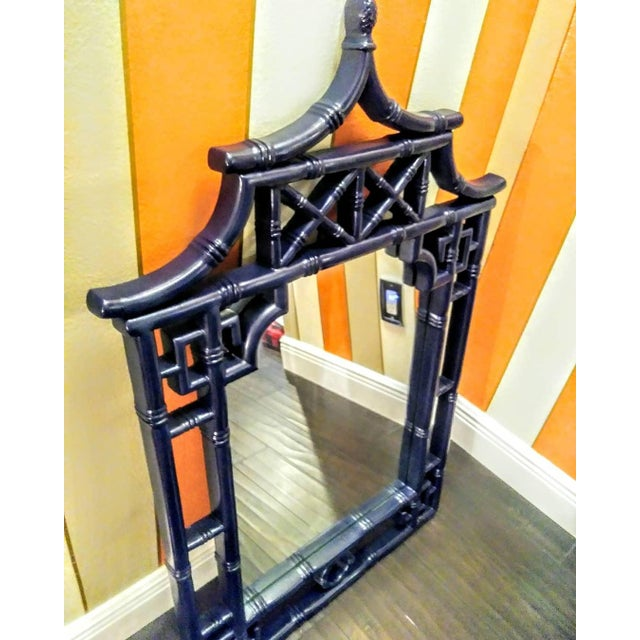 Asian Palm Beach Regency Chinoiserie Navy Blue Pagoda Faux Bamboo Fret Work Wall Mirror For Sale - Image 3 of 8