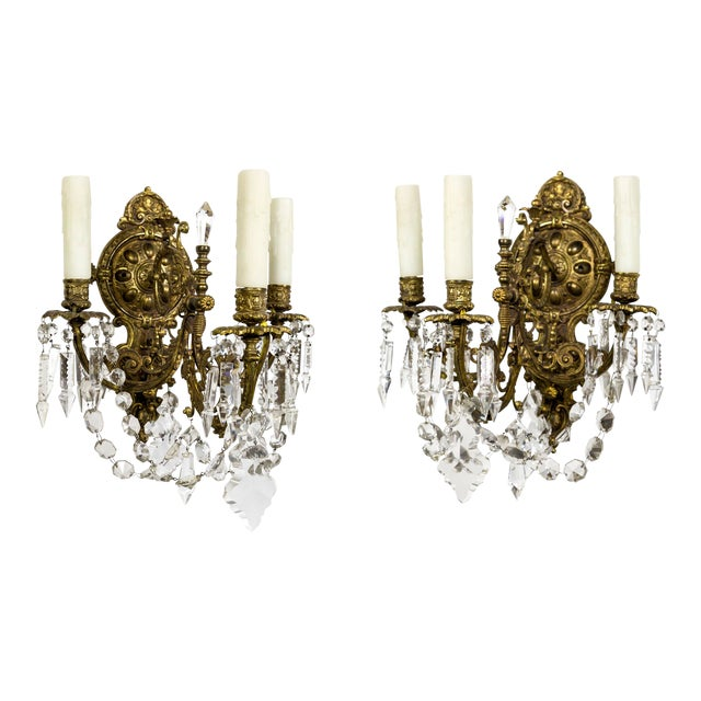 Highly Detailed Belle Epoque Style Sconces (Pair) For Sale