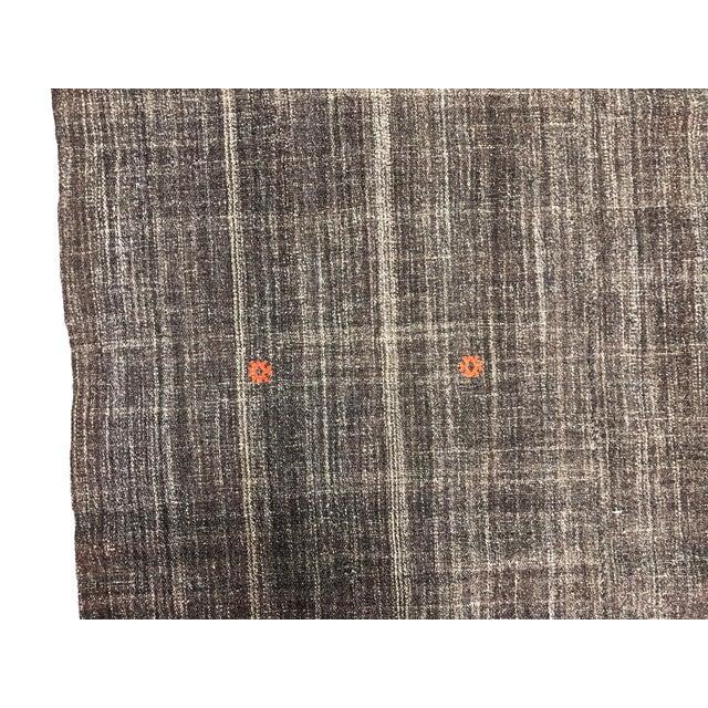 Boho Chic Turkish Brown Organic Handwoven Kilim Rug - 4′8″ × 6′11″ For Sale - Image 3 of 7