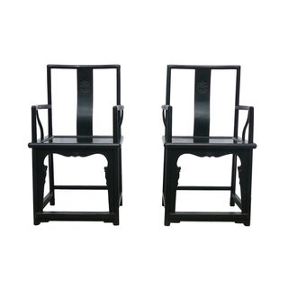 Dark Brown Elm Wood Officer Armchairs - Pair