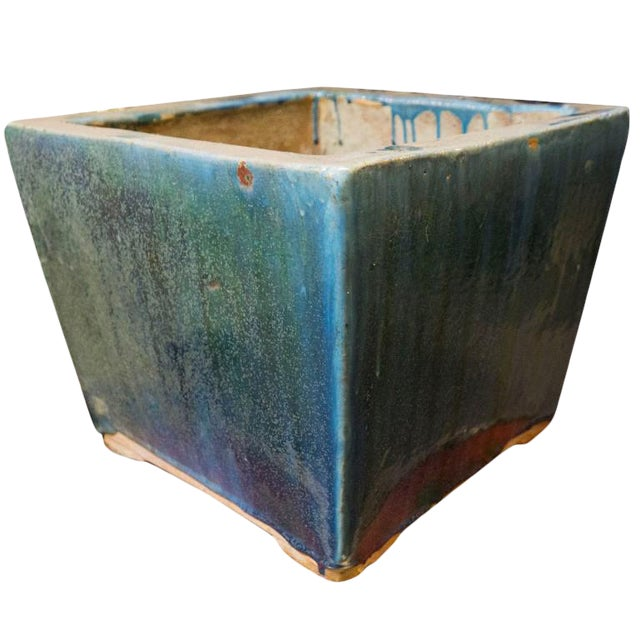 Blue and Green Glazed 20th Century Square Planter For Sale