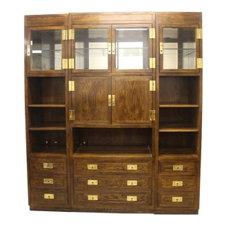 Mid Century Scene One Campaign Style Wall Unit For Sale
