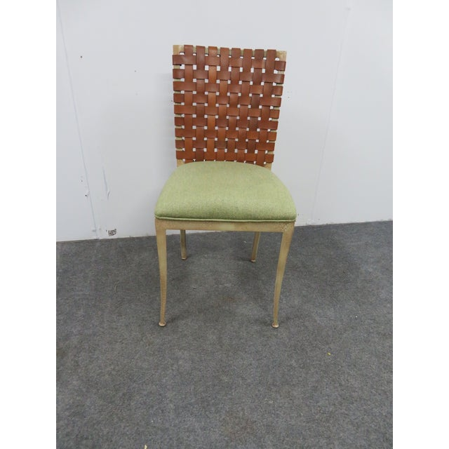 Harden furniture side chair, iron frame with cream crackle paint distressed finish , leather starp basket weave back,...