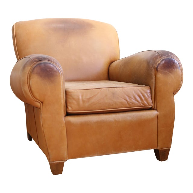 Original Vintage Leather Club Chair For Sale