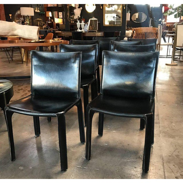 Animal Skin Cassina Chairs, Model Cab Nr. 412, Mario Bellini in Black Leather, Set of Eight For Sale - Image 7 of 9