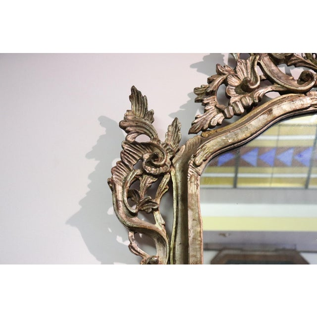 20th Century Italian Louis XV Style Silvered Wood Antique Wall Mirror For Sale - Image 9 of 13