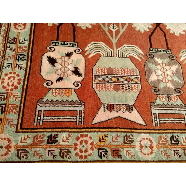 Vintage Khotan Vase Carpet - 5′ × 8′ For Sale - Image 4 of 13