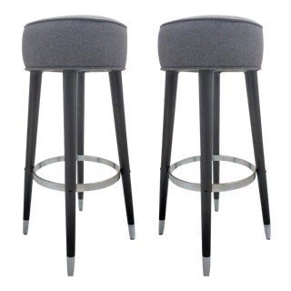 1980s Modern Wood, Chrome and Mohair Stools - a Pair For Sale