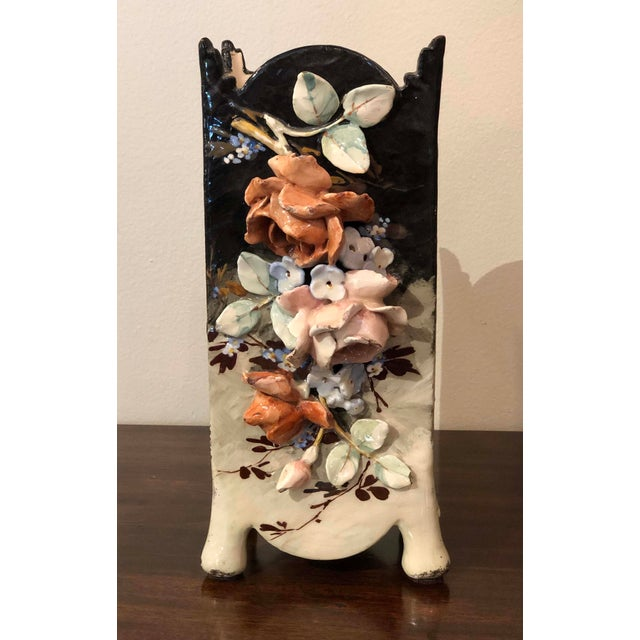 Edouard Gilles French Barbotine Majolica Vase For Sale - Image 9 of 9
