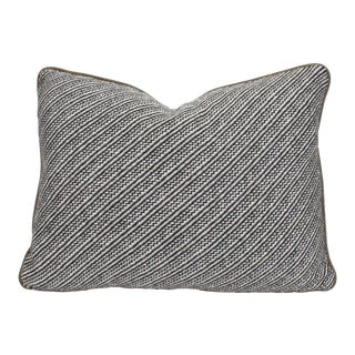 Olive Wool & Leather Pillow For Sale