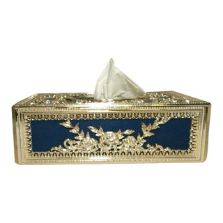 Vintage Colonial Blue Flock & Gold Filigree Plastic Tissue Box Cover For Sale