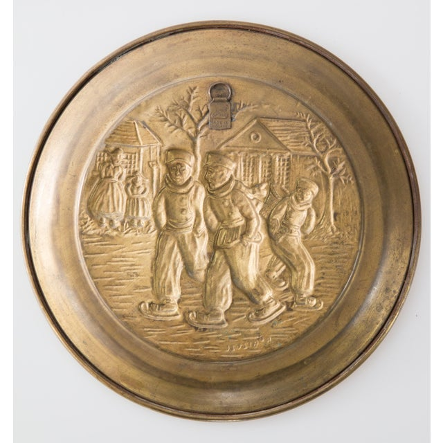 English Hammered Brass Plate Winter Scene With Figures For Sale - Image 4 of 5